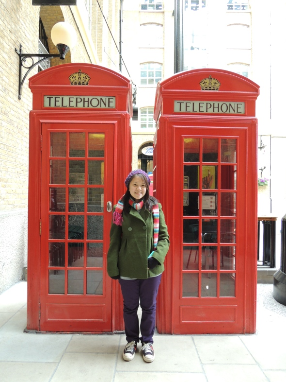 The famous red telephone boxes