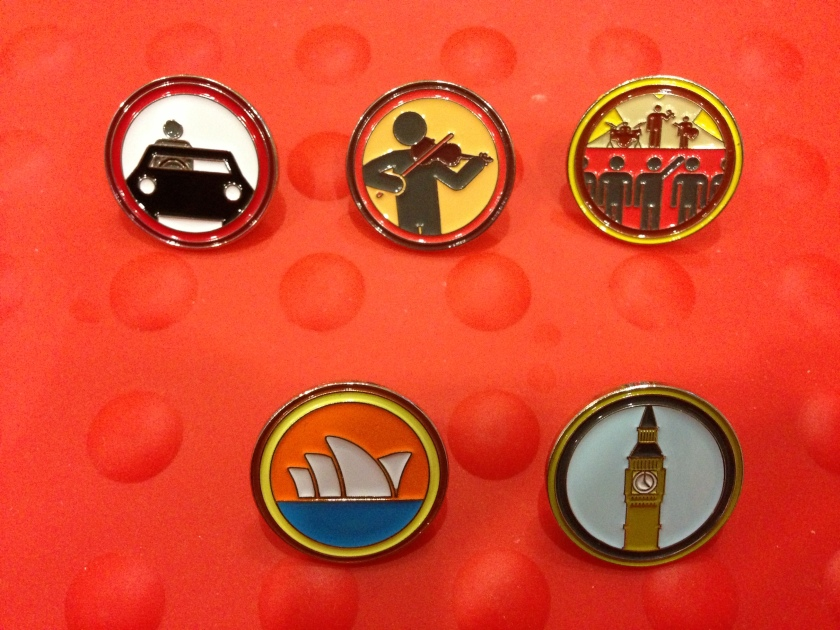 (Top) Driving badge, violin badge, concert badge (Bottom) Sydney Opera House badge, Big Ben badge