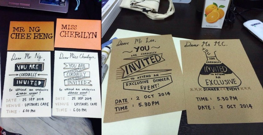 (Date and time on the cards I made on the left were corrected ok) Formal invitation cards by Bellyn and I