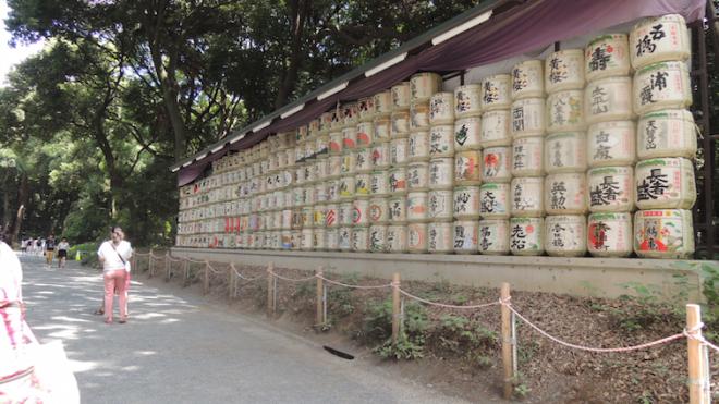 Barrels containing sake
