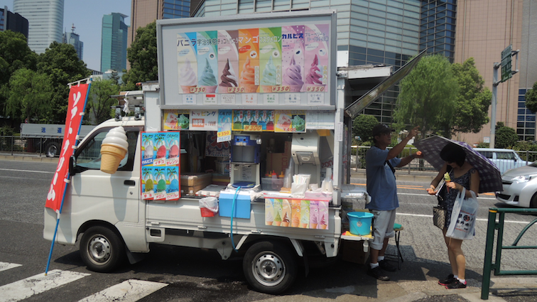 Ice cream truck on the way back to the subway station