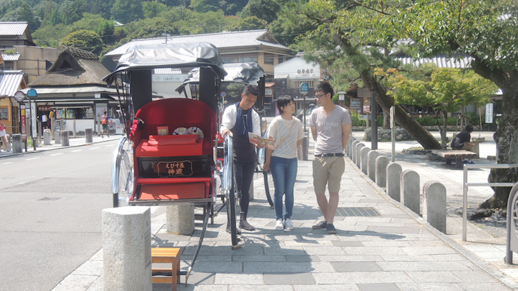 There were a lot of man-pulled trishaws in Japan