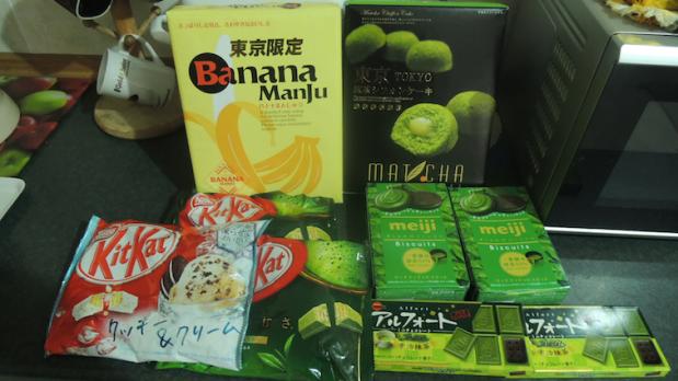 Matcha kit kat, matcha biscuits, matcha chocolate biscuits, matcha chiffon cakes and banana manju (aka cheaper version of Tokyo Banana)