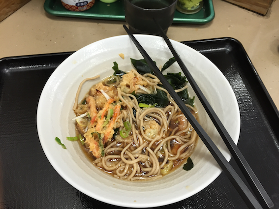 Everyone else ordered cold soba in contrast of the weather but of course, I didn't know how to read kanji so I ended up ordering hot soba good job Michelle