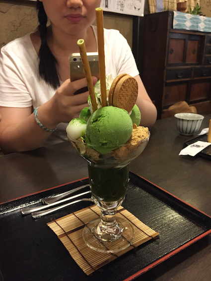 Matcha parfait for dessert!
