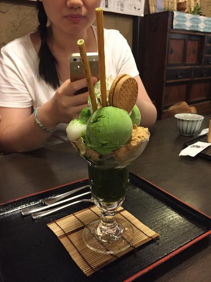 Matcha parfait for dessert!